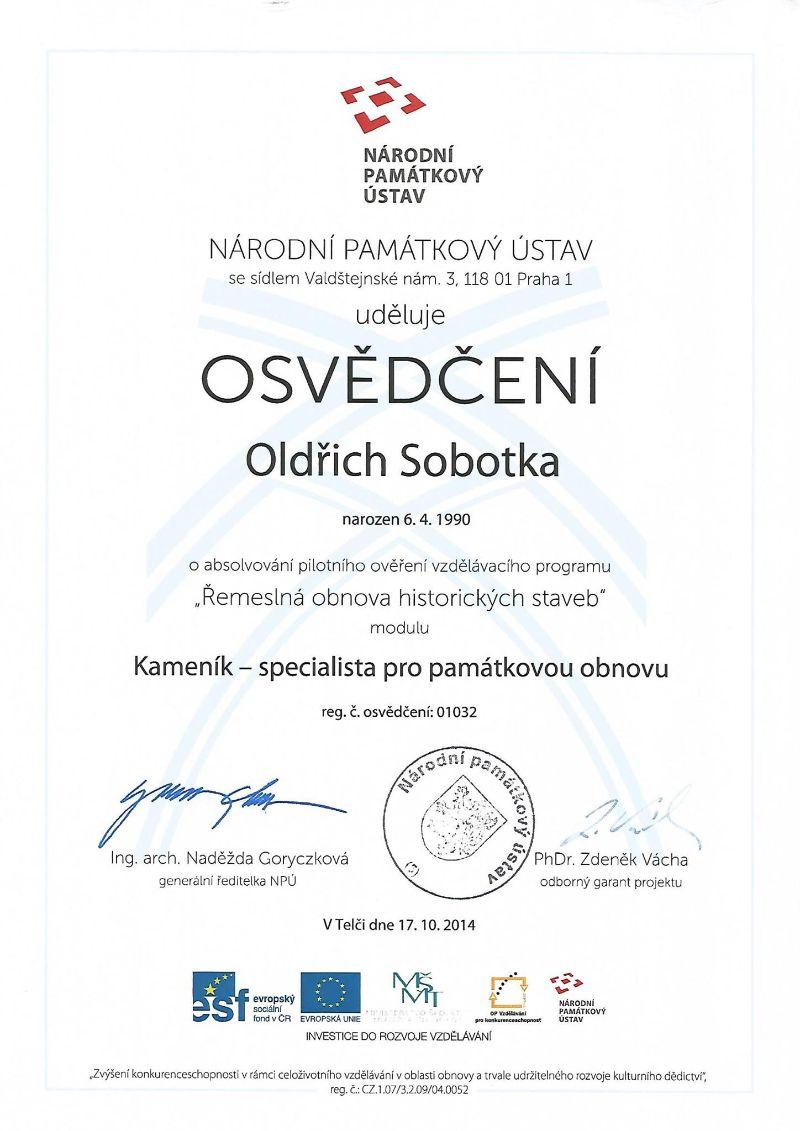 Certifikát Kameník - specialista pro památkovou obnovu Oldřich Sobotka